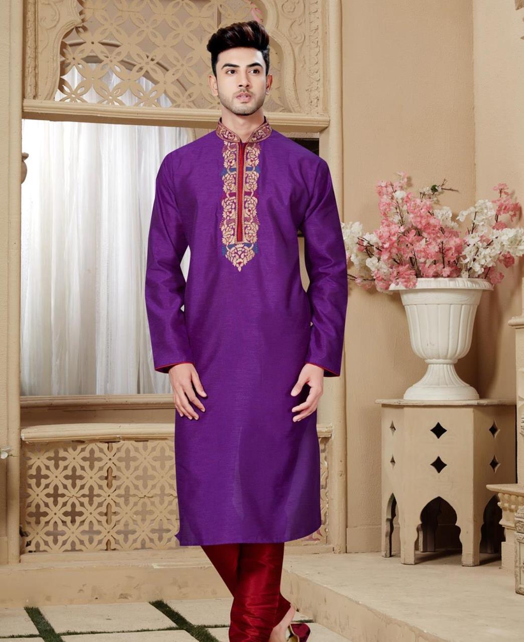 Plain Art Silk Purple Kurta Pajama