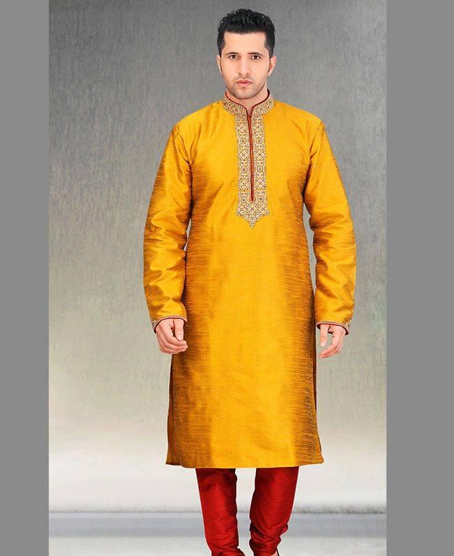 Butta Work Dupion Silk Yellow Mens Kurta Pajama