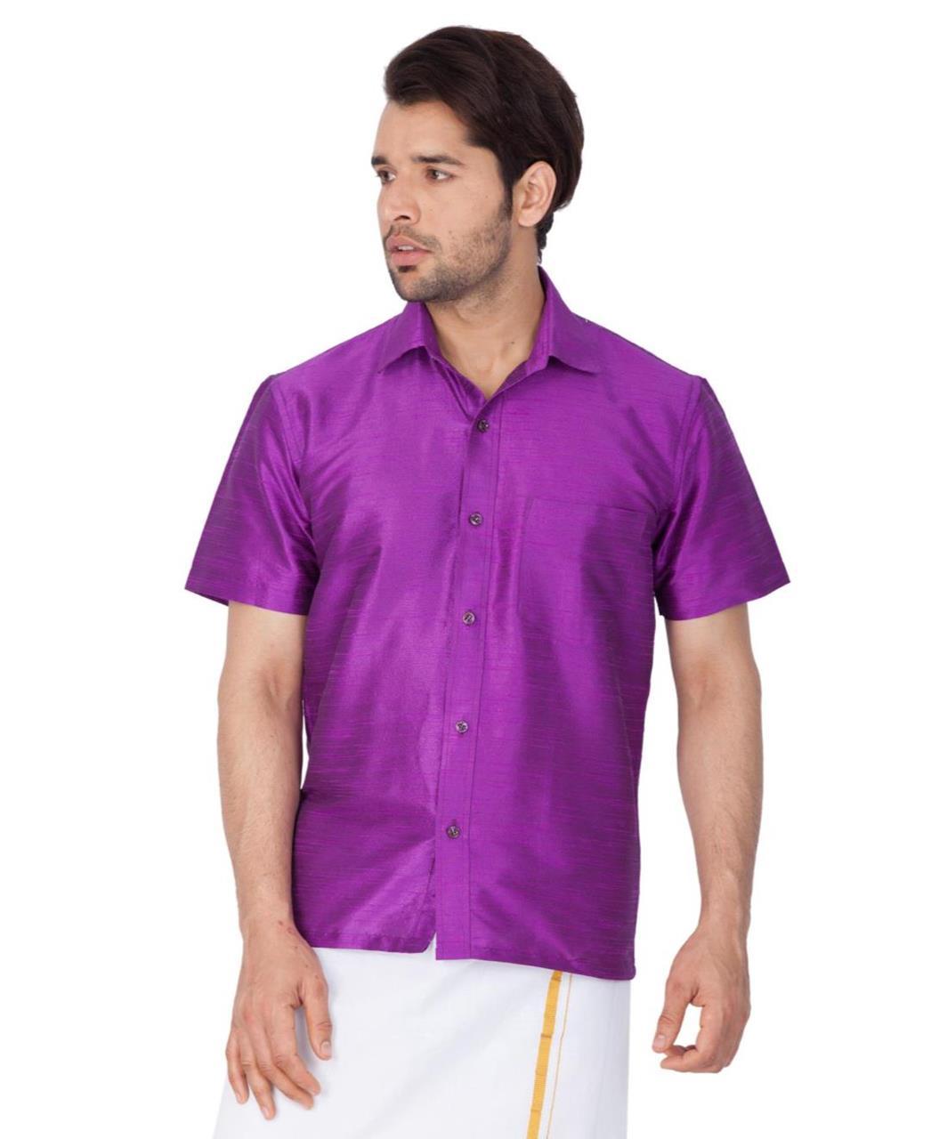 Plain Cotton Purple Dhoti