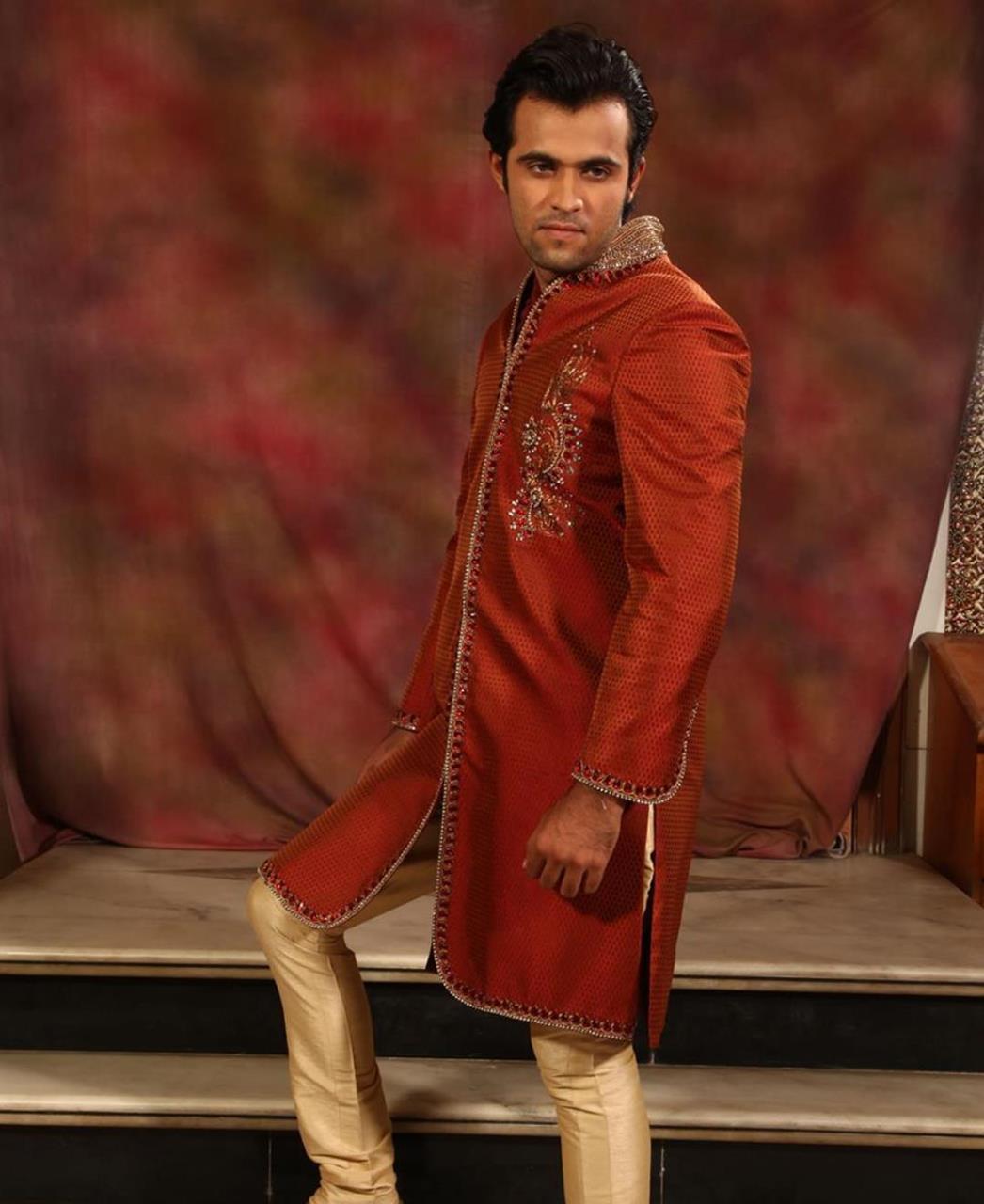 Embroidered Silk Red Sherwani