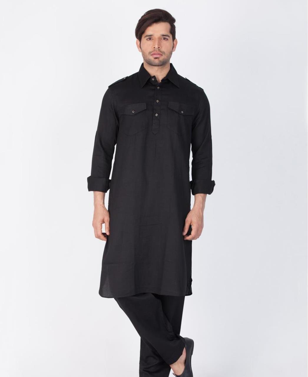 Button Work Cotton Black Kurta Pajama