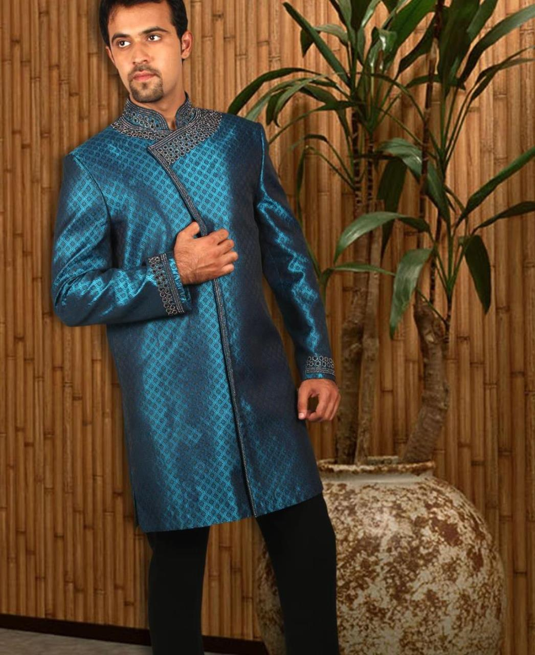 Embroidered Cotton Blue Coats