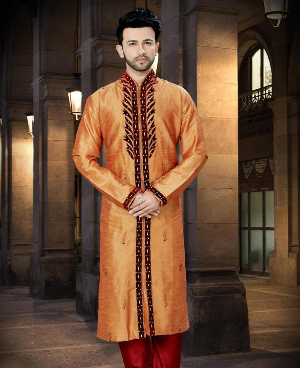 Border Work Dupion Silk Orange Kurta Pajama
