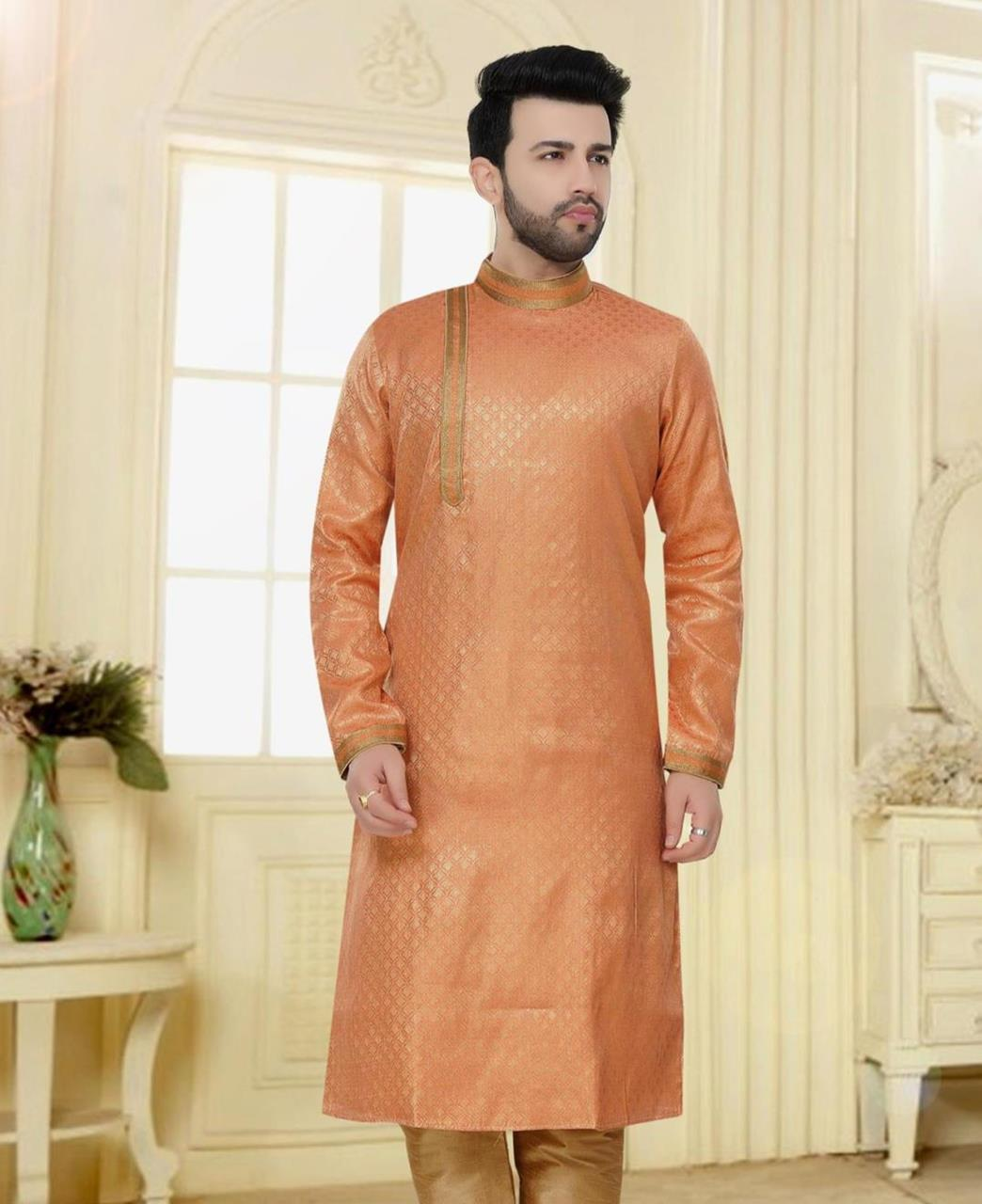 Cord Work Jacquard Orange Kurta Pajama
