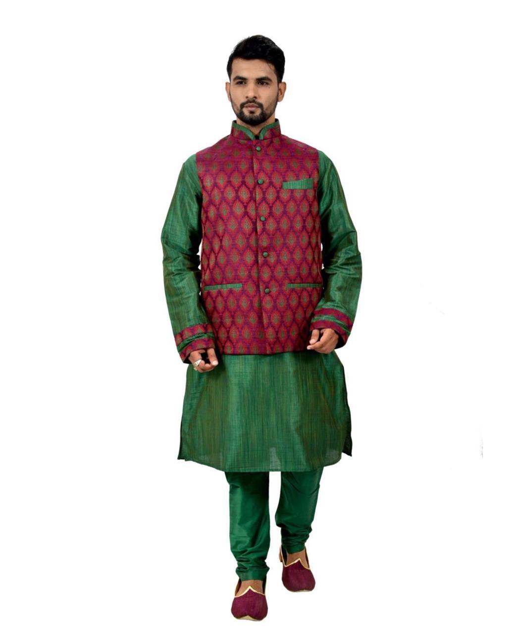 Printed Silk Green Waist Coats