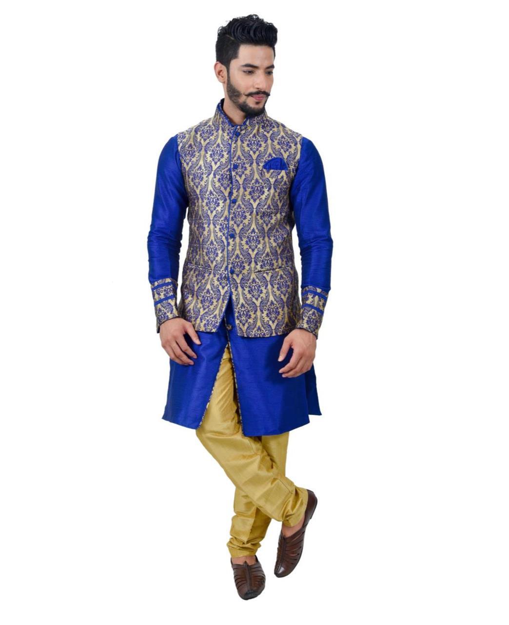 Printed Art Silk Blue Waist Coats