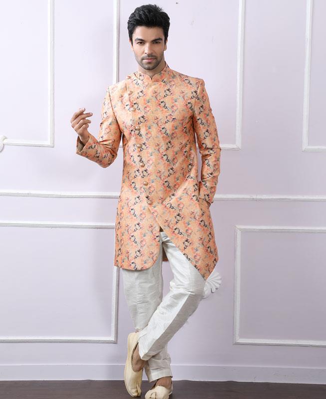 Printed Silk PeachPuff Kurta Pajama