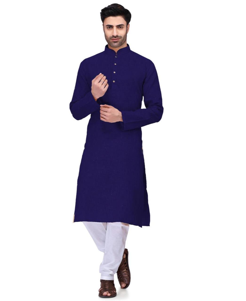 Plain Cambric Cotton Navyblue Kurta Pajama
