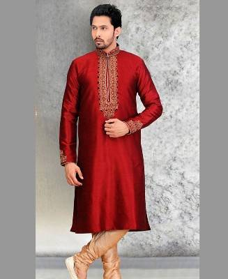 Butta Work Silk Maroon Mens Kurta Pajama