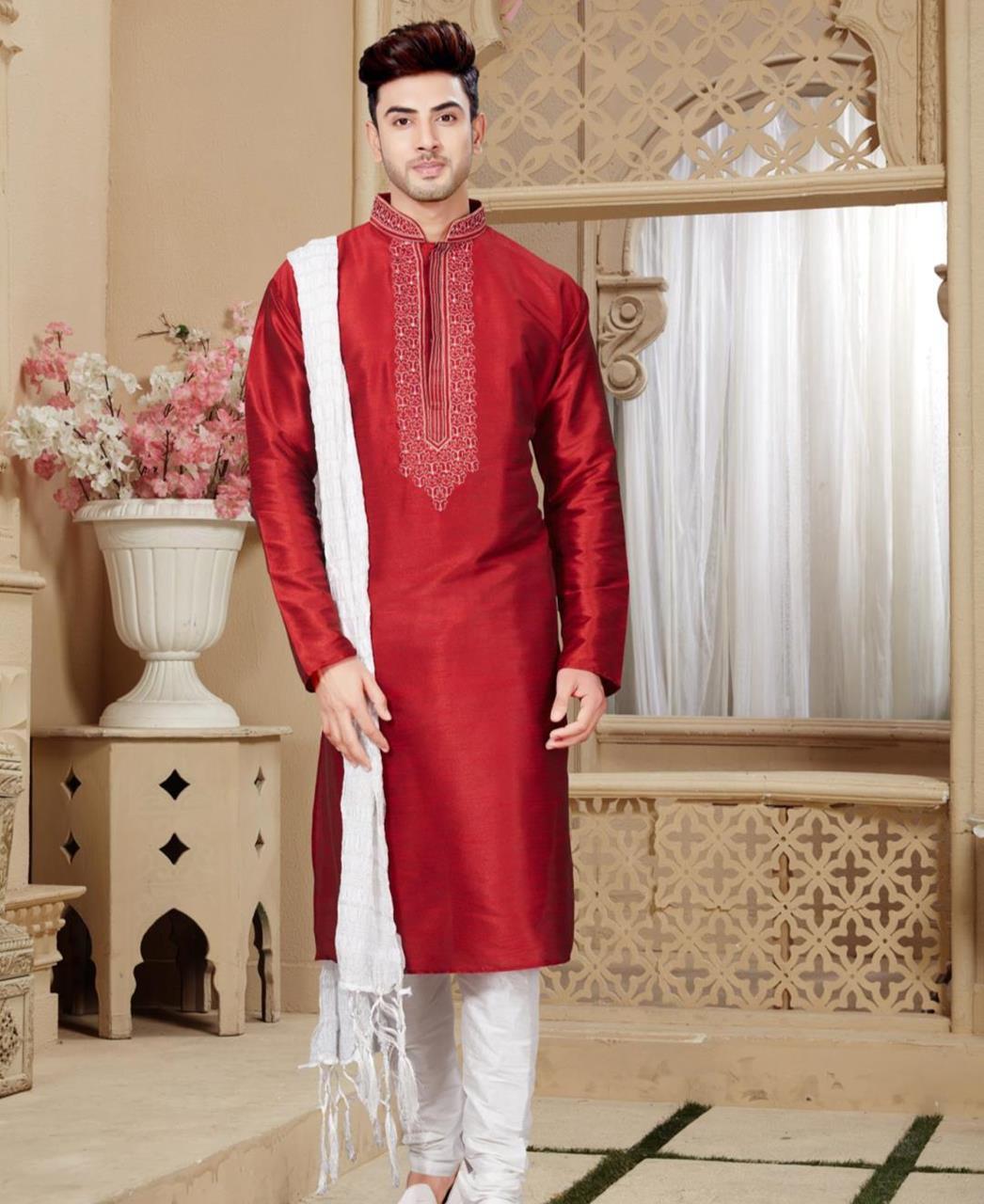 Plain Art Silk Maroon Sherwani