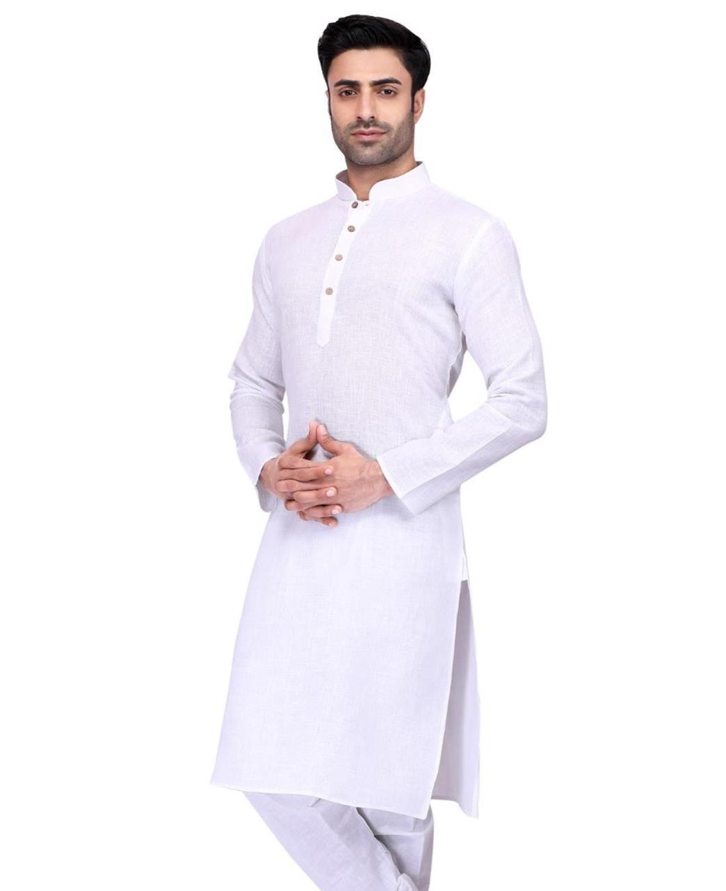 Plain Cotton White Kurta Pajama
