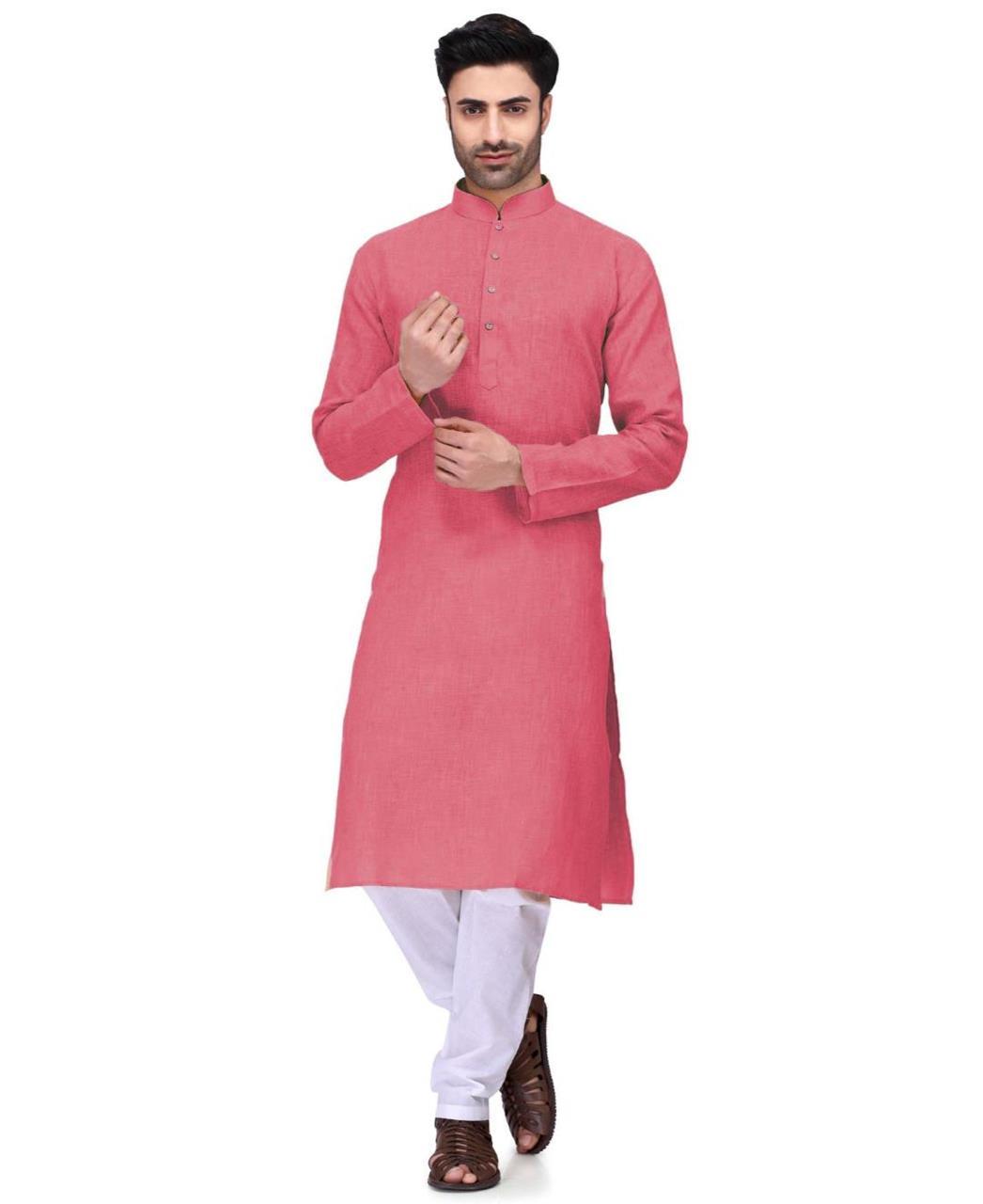 Plain Cambric Cotton Pink Kurta Pajama