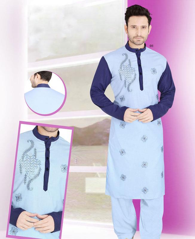 Embroidered Cotton SKYBLUE Kurta Pajama