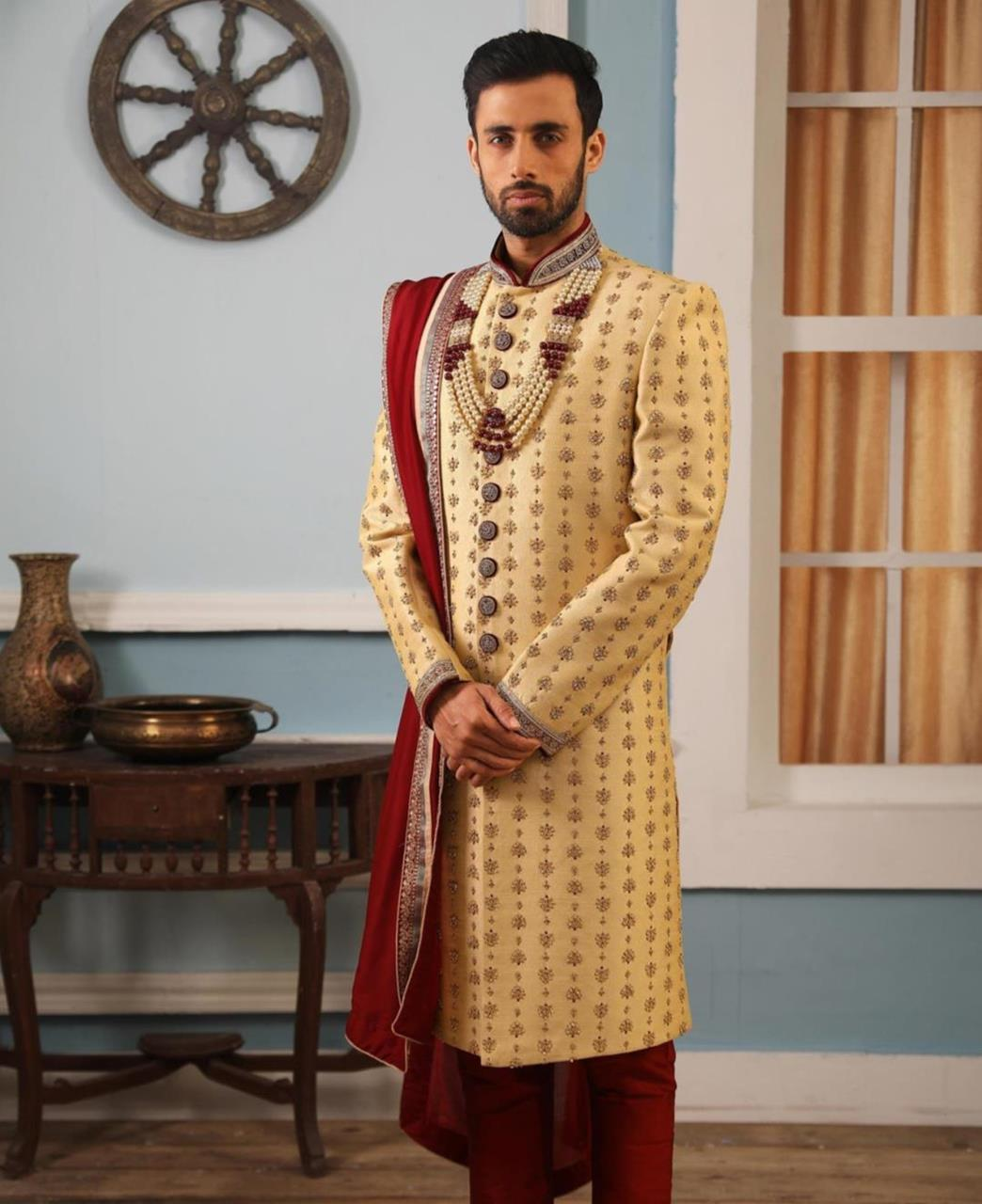Embroidered Brocade Gold Kurta Pajama