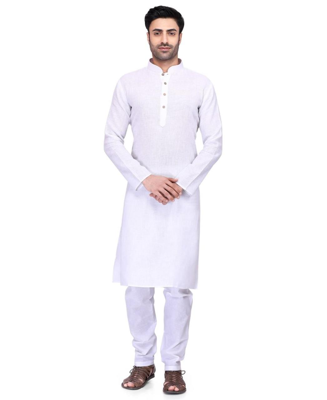 Plain Cambric Cotton White Kurta Pajama