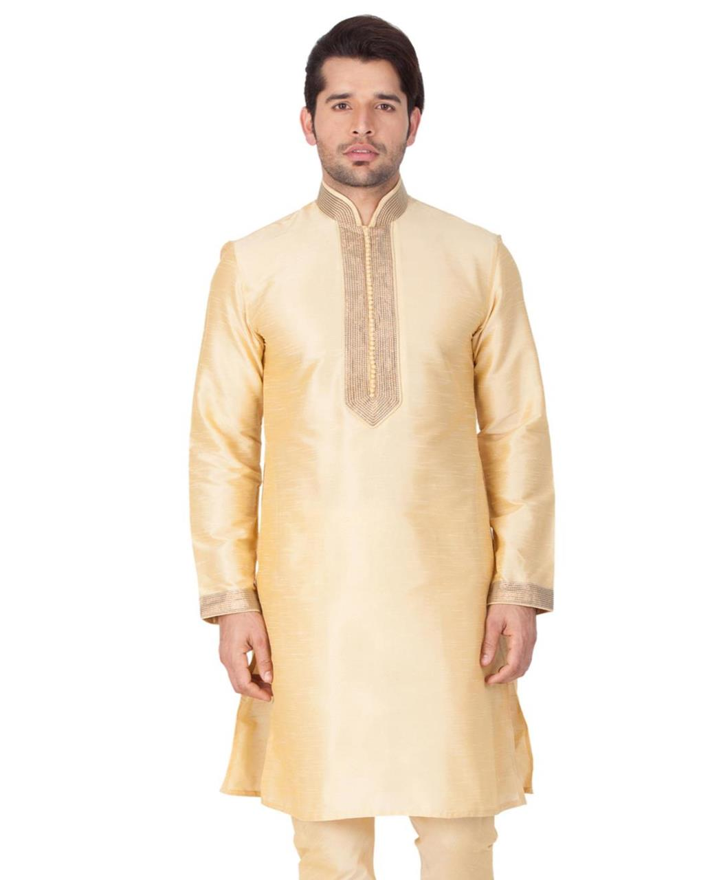 Plain Cotton Gold Kurta Pajama