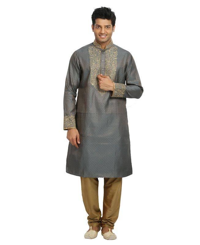 Brocade Patch Silk Gray Mens Kurta Pajama
