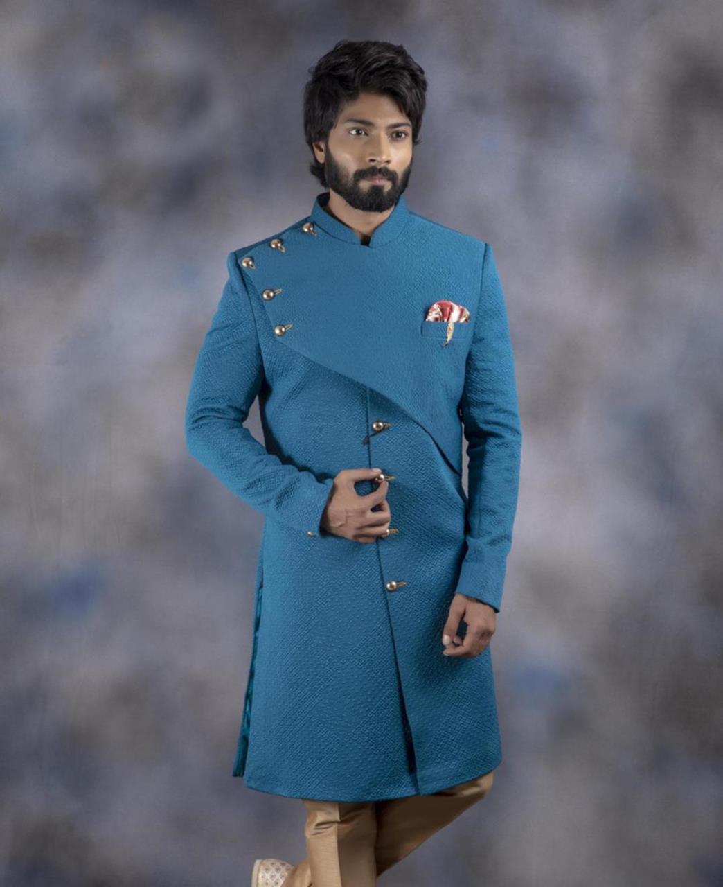 Printed Cotton Blue Kurta Pajama