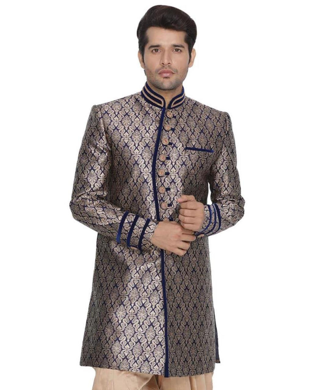Jacquard Cotton Blue Kurta Pajama
