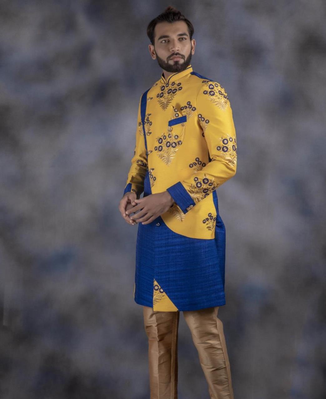 Embroidered Jacquard Yellow Kurta Pajama