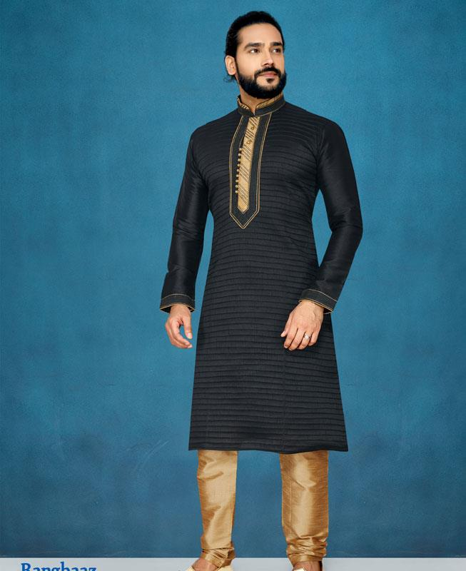 Embroidered Silk Black Kurta Pajama