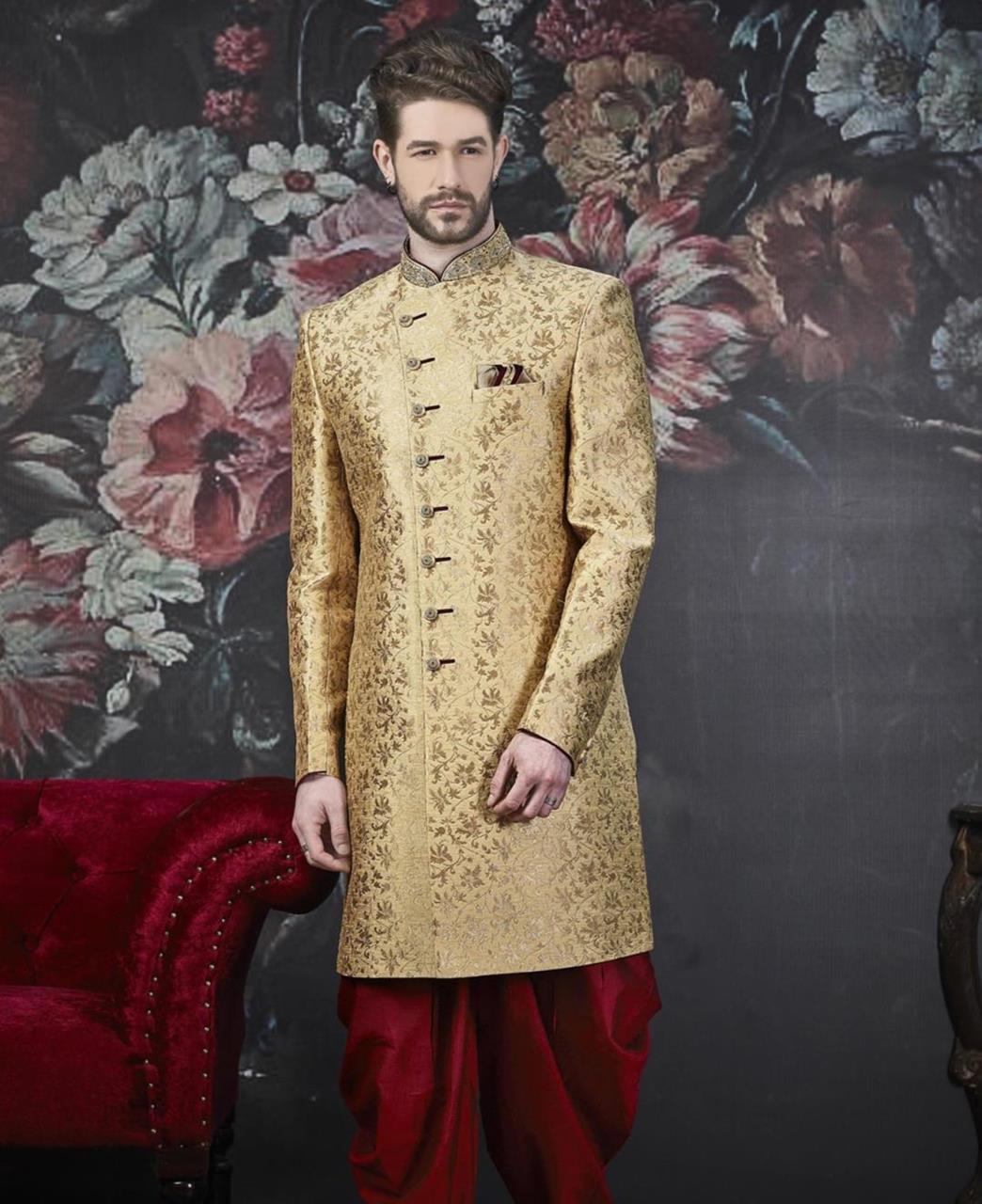 Embroidered Jacquard Gold Kurta Pajama