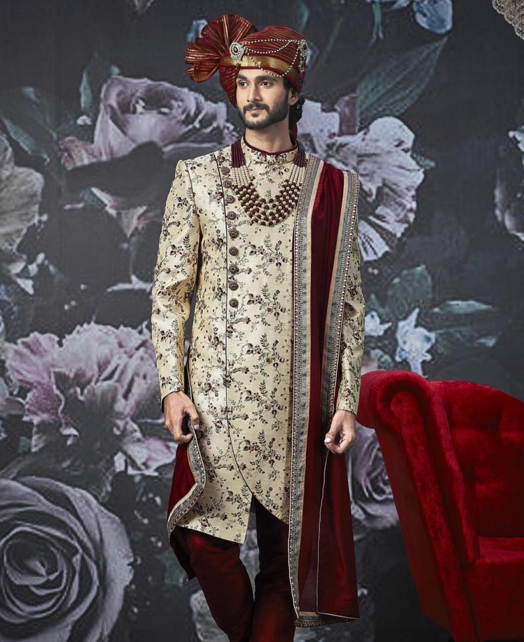 Embroidered Art Silk Beige Kurta Pajama