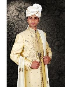 Embroidered Silk Cream Sherwani