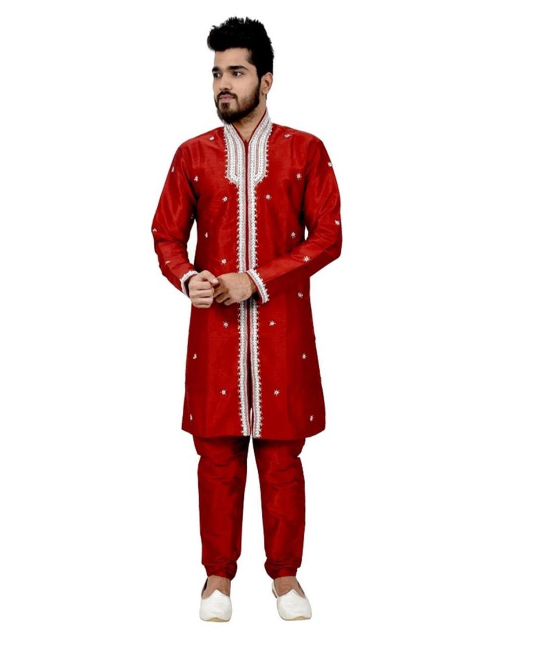 Embroidered Silk Maroon Coats