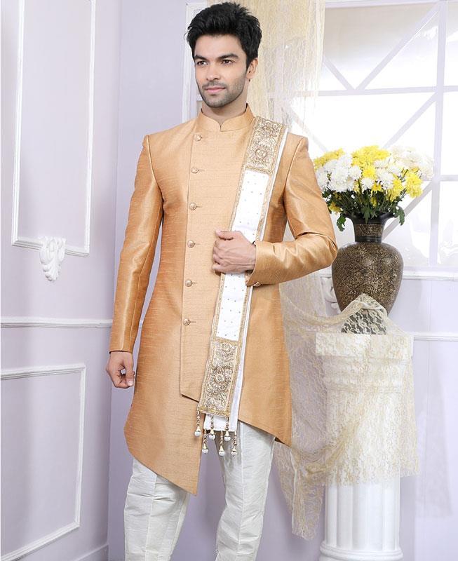 Plain Art Silk Ivory Kurta Pajama