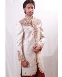 Embroidered Silk Offwhite Sherwani