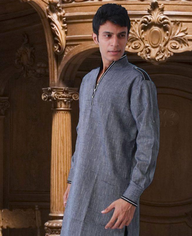 Lace Linen Gray Mens Kurta Pajama