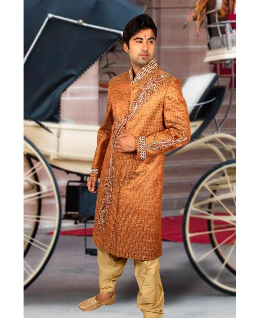 Embroidered Silk Orange Sherwani