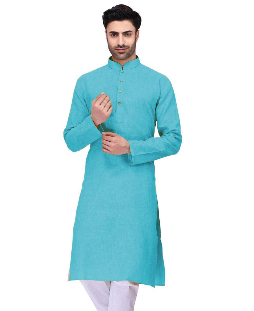 Plain Cambric Cotton SKYBLUE Kurta Pajama