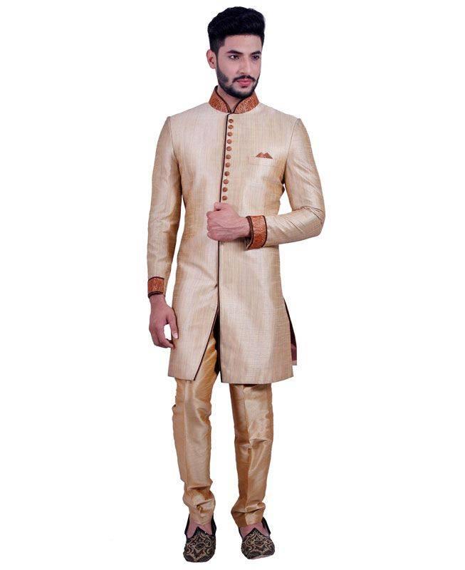 Plain Art Silk Brown Mens Sherwani