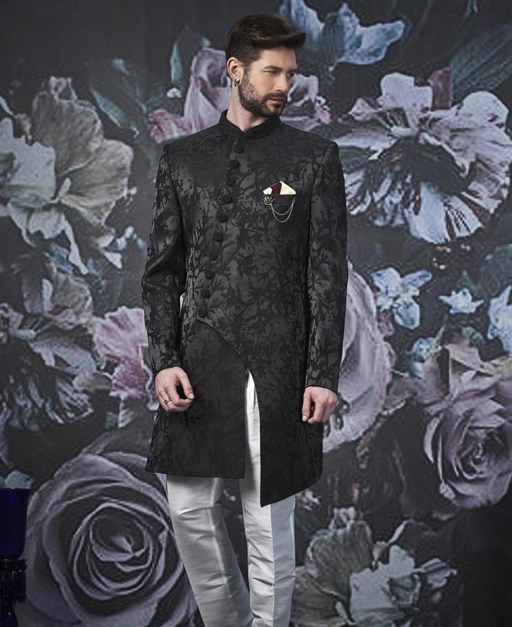 Embroidered Jacquard Black Kurta Pajama