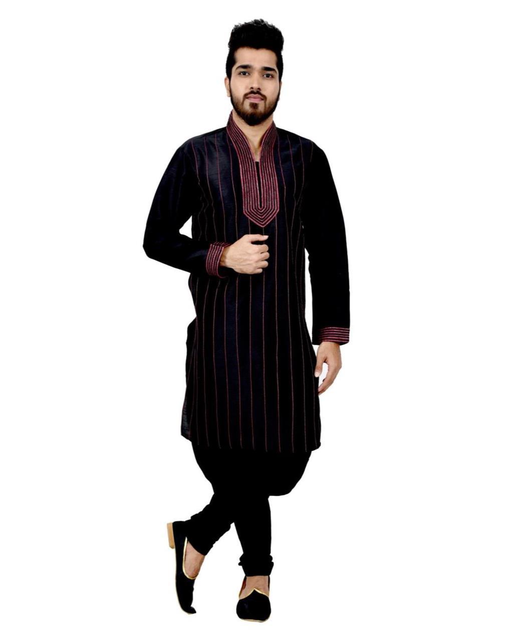 Cord Work Art Silk Black Sherwani
