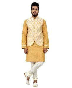 Button Work Silk Gold Waist Coats