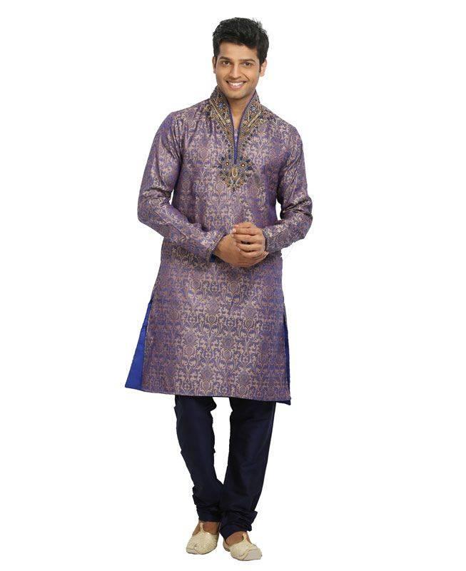 Brocade Patch Silk Purple Mens Kurta Pajama