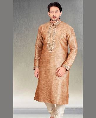 Butta Work Silk Brown Mens Kurta Pajama
