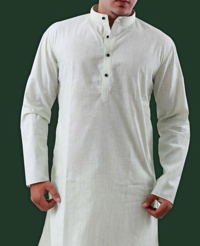 Plain Cotton Green Mens Kurta Pajama
