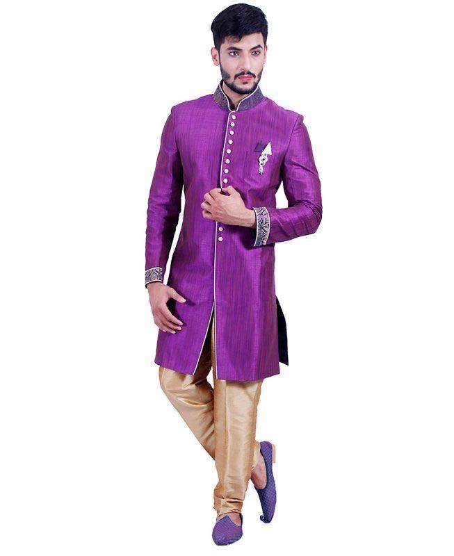 Lace Art Silk Purple Mens Sherwani