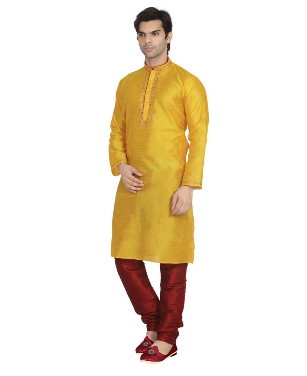 Plain Dupion Silk Yellow Kurta