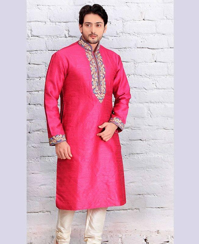 Butta Work Dupion Silk Pink Mens Kurta Pajama