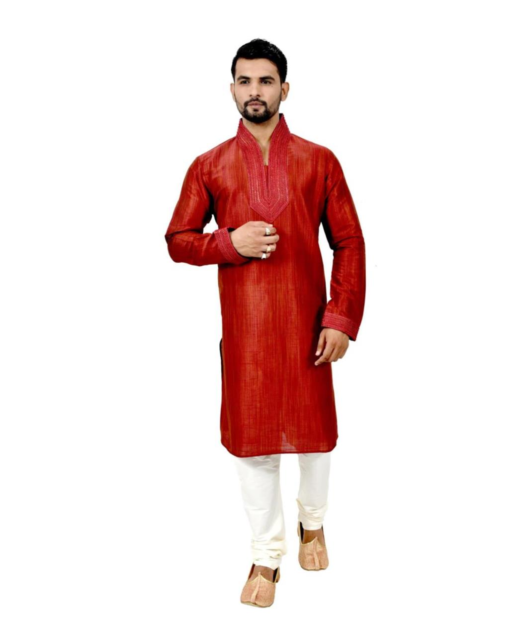 Cord Work Silk Blue Kurta