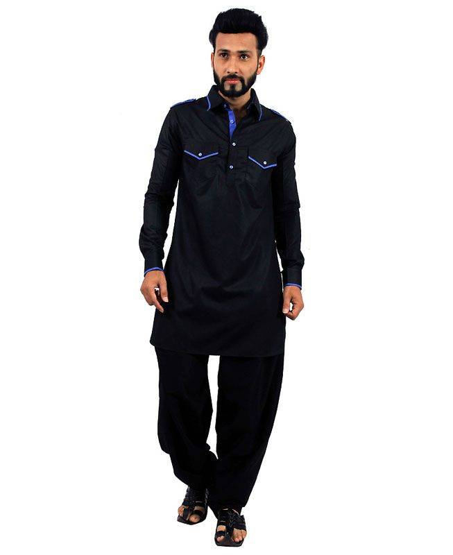 Plain Cotton Black Mens Kurta Pajama