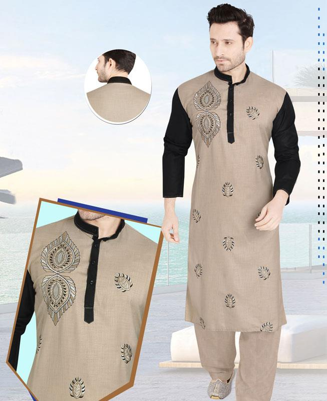 Embroidered Cotton Black Kurta Pajama