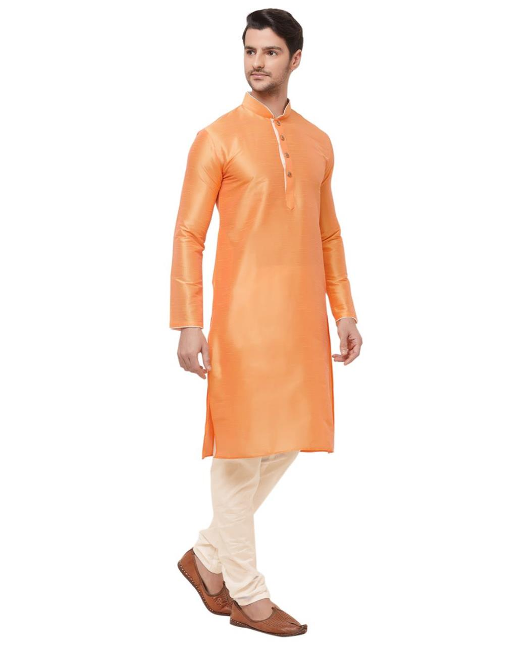 Plain Silk Orange Kurta Pajama