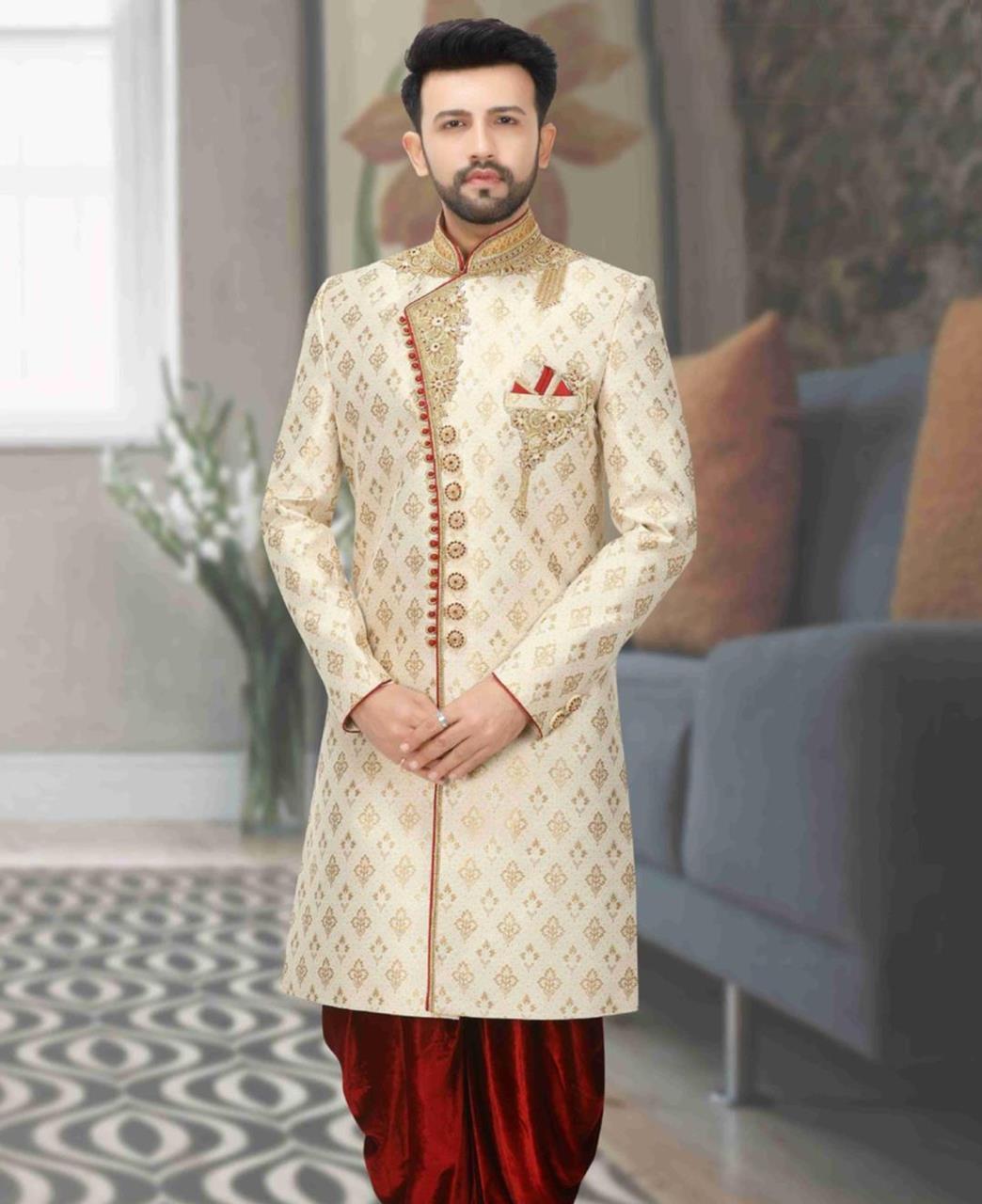 Jacquard Dupion Silk Cream Kurta Pajama