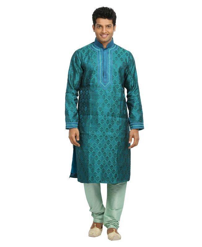 Brocade Patch Jacquard Turquoise Mens Kurta Pajama